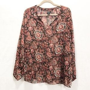 Lucky Brand sheer floral tunic blouse L